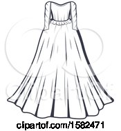 Clipart Of A Vintage Wedding Gown Design Royalty Free Vector Illustration