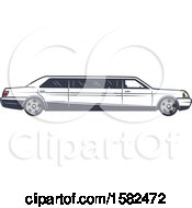 Clipart Of A Retro Wedding Limo Royalty Free Vector Illustration