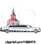 Clipart Of A Retro Wedding Limo Parked By A Church Royalty Free Vector Illustration