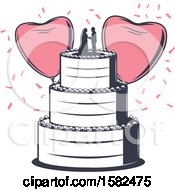 Poster, Art Print Of Retro Wedding Cake With Heart Balloons And Confetti