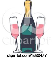 Clipart Of A Retro Bottle And Glasses Of Pink Champagne Royalty Free Vector Illustration