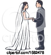 Clipart Of A Retro Wedding Couple Royalty Free Vector Illustration