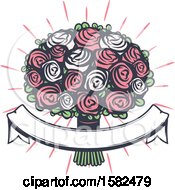 Clipart Of A Retro Wedding Boquet And Banner Design Royalty Free Vector Illustration