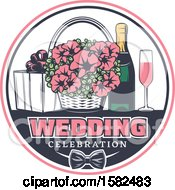 Poster, Art Print Of Retro Wedding Basket Of Flowers And Champagne With A Gift