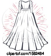 Clipart Of A Vintage Wedding Gown And Fireworks Design Royalty Free Vector Illustration