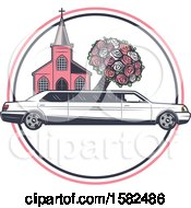 Poster, Art Print Of Retro Wedding Limo Parked By A Church With A Boquet
