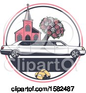 Clipart Of A Retro Wedding Limo Parked By A Church With A Boquet Royalty Free Vector Illustration