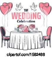 Poster, Art Print Of Retro Table With Flowers Doves Balloons Text And A Wedding Cake