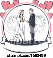 Clipart Of A Retro Wedding Couple With Fireworks And Heart Balloons Over A Banner Royalty Free Vector Illustration