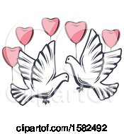 Clipart Of Retro Wedding Doves And Heart Balloons Royalty Free Vector Illustration by Vector Tradition SM