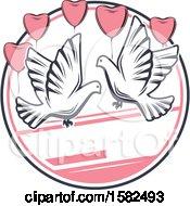 Retro Wedding Doves And Heart Balloons