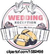 Poster, Art Print Of Retro Wedding Design With Doves Gifts And Bands