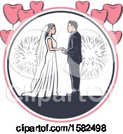 Clipart Of A Retro Wedding Couple With Fireworks And Heart Balloons Royalty Free Vector Illustration