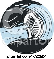 Clipart Of A Retro Hydroelectric Dam Royalty Free Vector Illustration