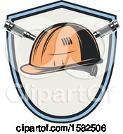 Clipart Of A Shield With A Hard Hat Royalty Free Vector Illustration by Vector Tradition SM
