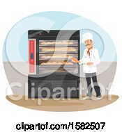 Clipart Of A Male Chef Baker Holding Bread By An Oven Royalty Free Vector Illustration