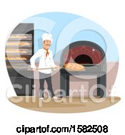 Clipart Of A Male Chef Cooking Wood Fired Brick Oven Pizza Royalty Free Vector Illustration