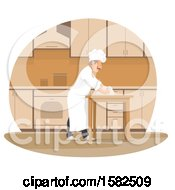Clipart Of A Male Chef Kneading Dough Royalty Free Vector Illustration