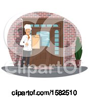 Clipart Of A Male Chef Holding A Menu By A Door Royalty Free Vector Illustration