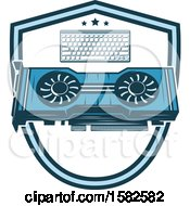Clipart Of A Computer Keyboard And Cooling Fans Royalty Free Vector Illustration