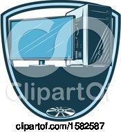 Clipart Of A Desktop Computer Shield Royalty Free Vector Illustration