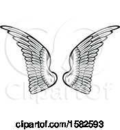 Clipart Of A Pair Of Black And White Wings Royalty Free Vector Illustration
