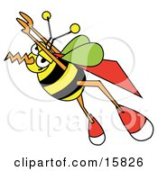Super Honeybee With A Cape Flying Upwards Clipart Illustration