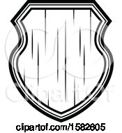 Retro Black And White Wooden Shield