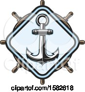Clipart Of A Ship Helm And Anchor Royalty Free Vector Illustration