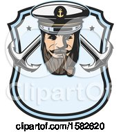 Clipart Of A Sea Captain Smoking A Pipe Over Crossed Anchors In A Shield Royalty Free Vector Illustration by Vector Tradition SM