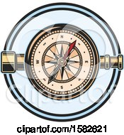 Clipart Of A Telescope And Compass Royalty Free Vector Illustration