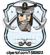 Sea Captain Smoking A Pipe Over Crossed Anchors In A Shield
