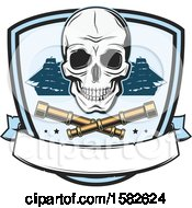Clipart Of A Skull Pirate Ships And Crossed Telescopes Royalty Free Vector Illustration