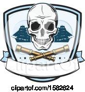 Poster, Art Print Of Skull Pirate Ships And Crossed Telescopes