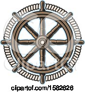 Clipart Of A Ship Steering Helm Royalty Free Vector Illustration by Vector Tradition SM