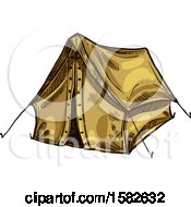 Clipart Of A Sketched Tent Royalty Free Vector Illustration by Vector Tradition SM
