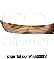 Clipart Of A Sketched Wood Boat Royalty Free Vector Illustration