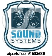 Clipart Of A Pair Of Headphones And Speakers In A Shield Royalty Free Vector Illustration