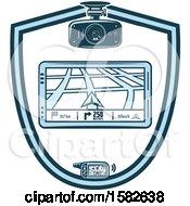 Clipart Of A Gps Navigation Shield Royalty Free Vector Illustration