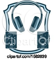 Clipart Of A Shield With Audio Headphones And Speakers Royalty Free Vector Illustration