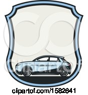 Blue Hybrid Car In A Shield