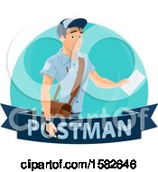 Clipart Of A Mail Man Over A Banner Royalty Free Vector Illustration
