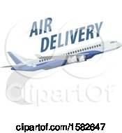 Clipart Of A Commercial Airplane With Air Delivery Text Royalty Free Vector Illustration