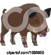 Clipart Of A Wild Boar Royalty Free Vector Illustration