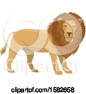 Clipart Of A Male Lion Royalty Free Vector Illustration