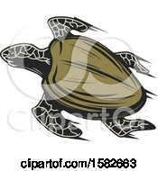 Clipart Of A Sea Turtle With Speed Trails Royalty Free Vector Illustration by Vector Tradition SM