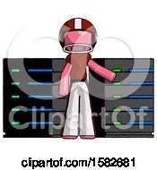 Pink Football Player Man With Server Racks In Front Of Two Networked Systems