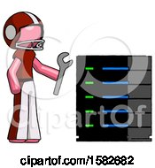 Pink Football Player Man Server Administrator Doing Repairs