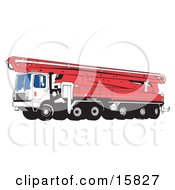 Big Hydraulic Concrete Pumping Truck With Mounted Boom Pump Clipart Illustration