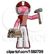 Pink Football Player Man Holding Tools And Toolchest Ready To Work